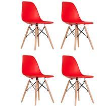 Kit 4 Cadeiras Charles Eiffel Eames - Base Wood - Cor Vermelho- Artiluminacao -