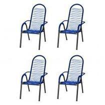 Kit 4 Cadeiras de Área Reforçada Tubos Grossos Fios Azul - Tito
