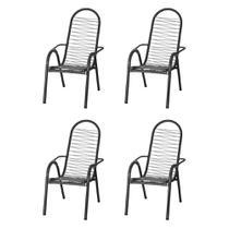 Kit 4 Cadeiras de Área Reforçada Tubos Grossos Fios Prata - Tito