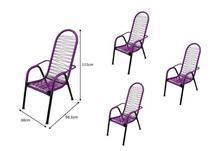 Kit 4 Cadeiras de Área Reforçada Tubos Grossos Fios ROXA - Tito