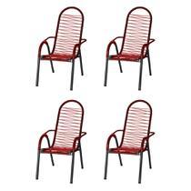 Kit 4 Cadeiras de Área Reforçada Tubos Grossos Fios VERMELHA - Tito