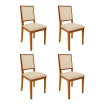 Kit 4 Cadeiras De Madeira Almofadada Sevilha Palha - Mel - Nina Mobilia