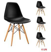 Kit 4 Cadeiras Eiffel Sala Jantar Cozinha Escritório Charles Eames Preta - Eames Eiffel