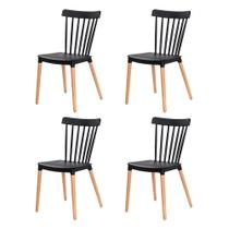 Kit 4 Cadeiras Ellen Windsor Polipropileno Preta Base MADEIRA Sala Cozinha Jantar - Waw Design