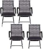 Kit 4 Cadeiras Escritório Esteirinha Fixa Eames Tela Cinza - Soffi