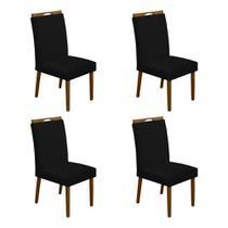 Kit 4 Cadeiras Estofadas de Jantar Veludo Preto Heloisa Mel - ASSENTOS PARANÁ