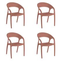 Kit 4 Cadeiras Glass Plus em Polipropileno Kappesberg - Terracota -