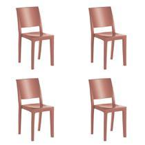 Kit 4 Cadeiras Hidra Plus em Polipropileno Kappesberg - Terracota -