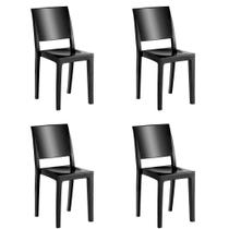 Kit 4 Cadeiras Hydra Plus em Polipropileno Kappesberg Preto -