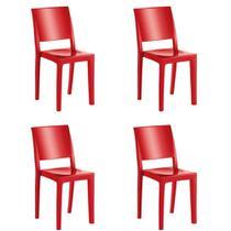 Kit 4 Cadeiras Hydra Plus Polipropileno Kappesberg Vermelho -