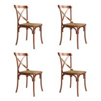 Kit 4 Cadeiras Katrina Cobre Assento Rattan Bege Asturias - Aço -