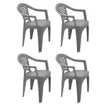 Kit 4 Cadeiras Plástica Com Braço Iguape Cinza Tramontina -