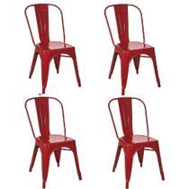 Kit 4 Cadeiras Tolix Vermelha - Gardenlife