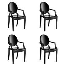 Kit 4 Cadeiras Wind Plus em Polipropileno Kappesberg - Preto -