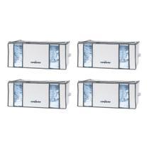 Kit 4 Caixas Herméticas Organizadoras de Roupas a Vácuo Compactor Life 210L 65x50x27cm -