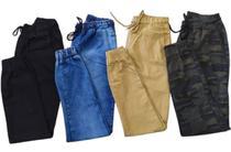Kit 4 Calças Jeans Masculina Jogger C/ Punho Lycra Elastano - rt13
