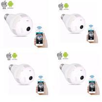 kit 4 Camera Ip Seguraca Lampada Vr 360 Panoramica Espia Wifi V380 - Vr cam v380 - Luatek