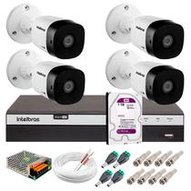 Kit 4 Câmeras de Segurança 20m Infravermelho Full HD 1080p VHD 1220B IR + DVR Intelbras + HD WD 1TB -