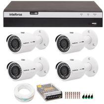 Kit 4 Câmeras de Segurança 4MP 2k Intelbras VHD 3430 B + DVR Intelbras 4K + Acessórios -