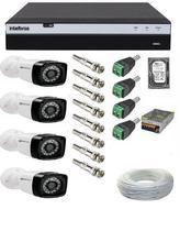 Kit 4 Câmeras De Segurança Full Hd 1080p 2 Megapixel 36 Leds Infra + Dvr Intelbras Mhdx 3004 Full Hd -