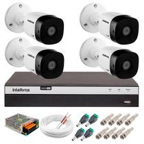 Kit 4 Câmeras de Segurança Full HD 1080p 20 Metros VHD 1220B IR + DVR Intelbras + Acessórios -