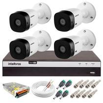 Kit 4 Câmeras de Segurança Full HD 1080p VHL 1220 B + DVR 3104 Intelbras  + Acessórios -