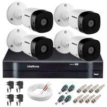 Kit 4 Câmeras de Segurança HD 720p Intelbras VHD 1120B G4 + DVR Intelbras Multi HD + Acessórios -