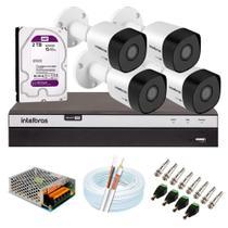 Kit 4 Câmeras de Segurança Intelbras Full HD 1080p VHD 3230 B G5 + DVR MHDX 3104 +  HD WD Purple 2TB -