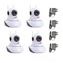 Kit 4 Câmeras de Segurança IP Sem Fio Wifi HD 720p Robo Wireless - Tudo Forte
