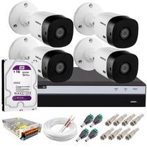 Kit 4 Câmeras de segurança VHL 1220 B + DVR 3104 Full hd 1080p 2mp Intelbras 1tb Purple -