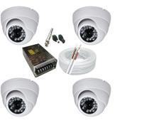 Kit 4 Câmeras Dome Infra vermelho Hd alta Resolução com acessórios - Luatek