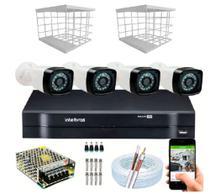 Kit 4 Câmeras + DVR Intelbras + Câmeras HD 720p 20m Infravermelho + Fonte, Cabos e Acessórios -