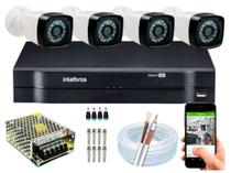 Kit 4 Cameras Segurança 720p Full Hd Dvr Intelbras 4ch S/hd -