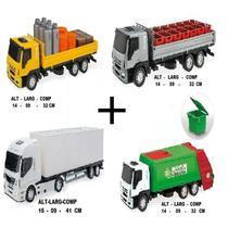 Kit 4 Caminhões Brinquedos Meninos Baú Iveco Lixo Bebida Usual -