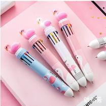 Kit 4 Canetas com 10 Cores Cada Escrita Fina Decorada com Flamingo - Kopeck