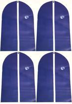 Kit 4 Capa Protetora Tnt Roupa Terno Vestido Zíper Closet 60cm x 100cm Cor: Azul - Unica