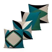 Kit 4 Capas Almofadas decorativas Abstrata Verde e Preto 45x45cm - Pano e Arte