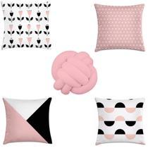 kit 4 capas almofadas escandinavo + 1 almofada de nó rosa - Kombigode