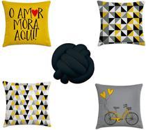 kit 4 capas almofadas escandinavo amarelo e preto + 1 almofa - Kombigode