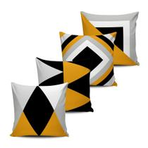 Kit 4 Capas Almofadas Geometrica Mellow Yellow Preto 45x45 - Pano e Arte