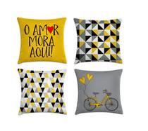 kit 4 capas de almofada geométrica amarelo e cinza II - Kombigode