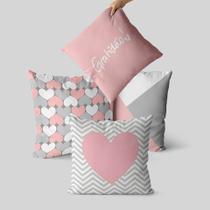 kit 4 capas de almofada geométrica rosa e cinza - Kombigode