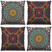 Kit 4 Capas de Almofada para Quarto ou Sala Quadradas Decorativas 40cm x 40cm Estampada Mandala - Virô Presentes