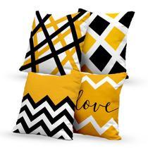 Kit 4 Capas de Almofadas Decorativas Geométricas Love - Prego E Martelo