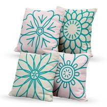 Kit 4 Capas de Almofadas Decorativas Own Desenho Flores - Prego E Martelo