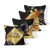 Kit 4 Capas de Almofadas Decorativas Own Feliz Páscoa Gold - Prego E Martelo
