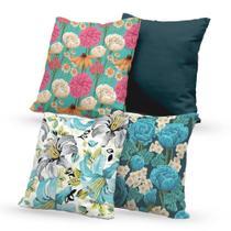 Kit 4 Capas de Almofadas Decorativas Own Flores Coloridas - Prego E Martelo