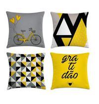 kit 4 capas de almofadas geométrica cinza com amarelo - Kombigode
