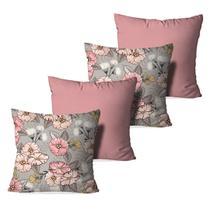 Kit 4 Capas para Almofadas Decorativas Cute Flowers - Love Decor