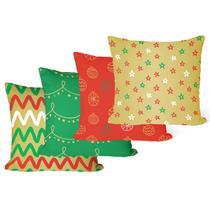 Kit 4 Capas para Almofadas Decorativas de Natal Colorida - Decoradois